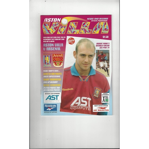 1995/96 Aston Villa v Arsenal League Cup Semi Final Programme