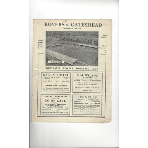 1949/50 Doncaster Rovers v Gateshead Football Programme
