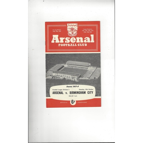 1957/58 Arsenal v Birmingham City Football Programme