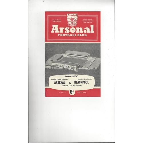1957/58 Arsenal v Blackpool Football Programme
