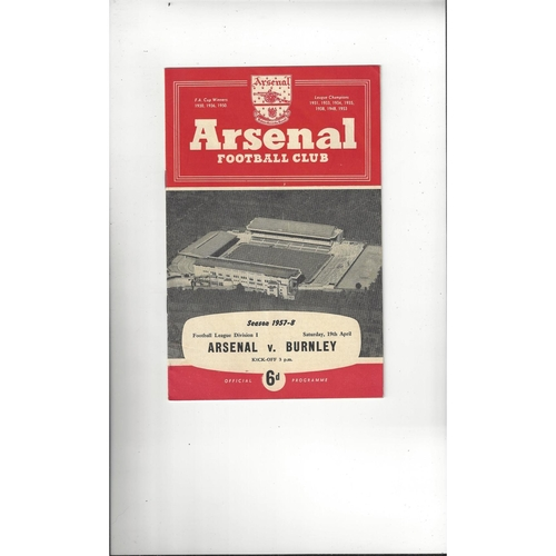 1957/58 Arsenal v Burnley Football Programme