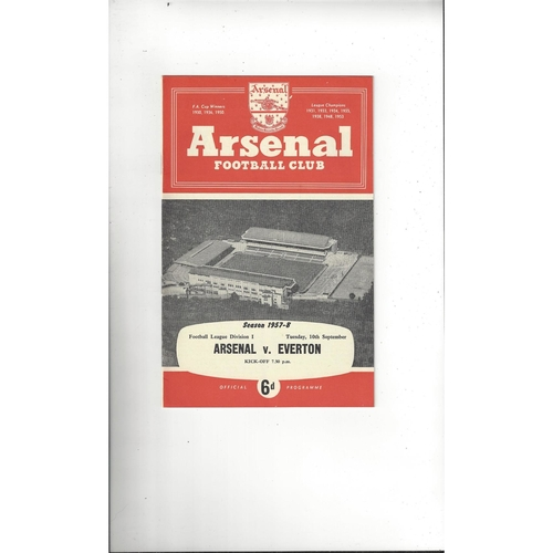 1957/58 Arsenal v Everton Football Programme