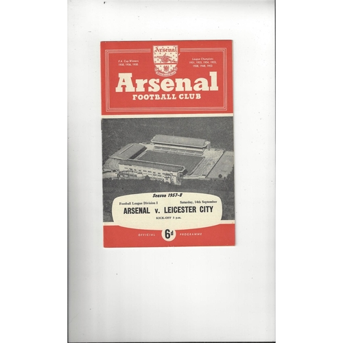 1957/58 Arsenal v Leicester City Football Programme