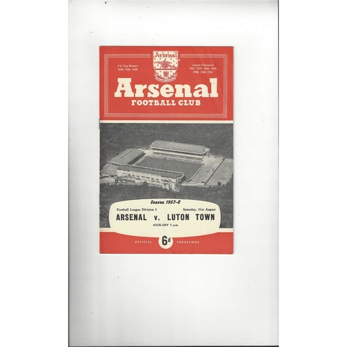 1957/58 Arsenal v Luton Town Football Programme