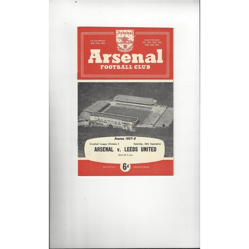 1957/58 Arsenal v Leeds United Football Programme