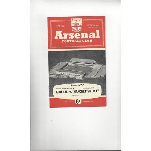 1957/58 Arsenal v Manchester City Football Programme