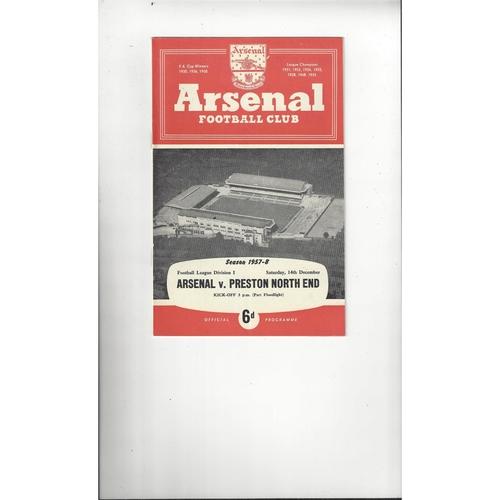 1957/58 Arsenal v Preston Football Programme
