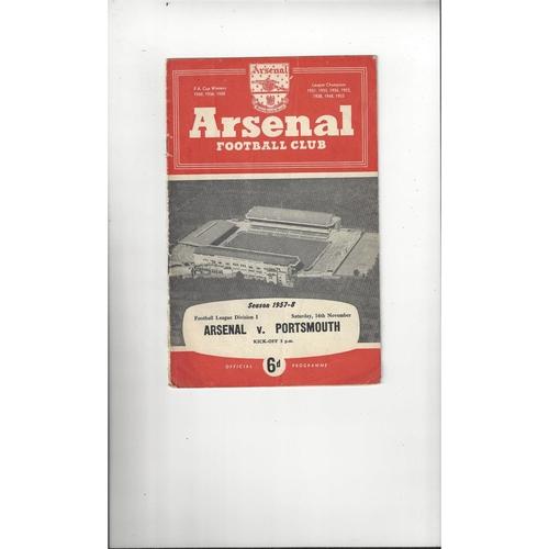 1957/58 Arsenal v Portsmouth Football Programme
