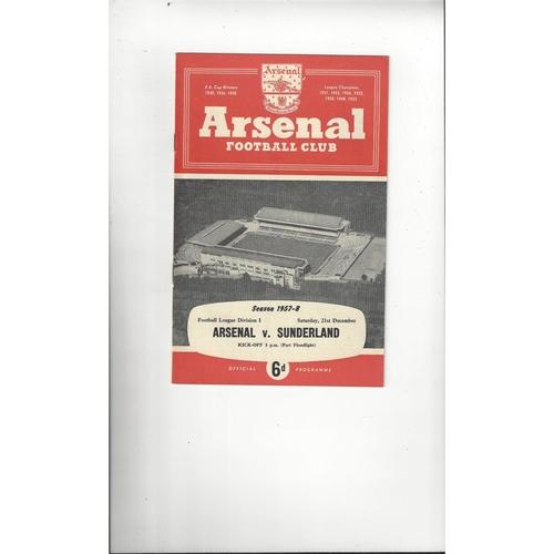 1957/58 Arsenal v Sunderland Football Programme