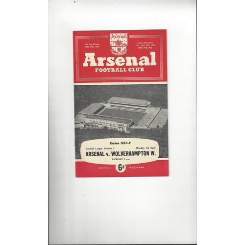 1957/58 Arsenal v Wolves Football Programme