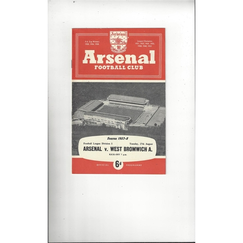 1957/58 Arsenal v West Bromwich Albion Football Programme