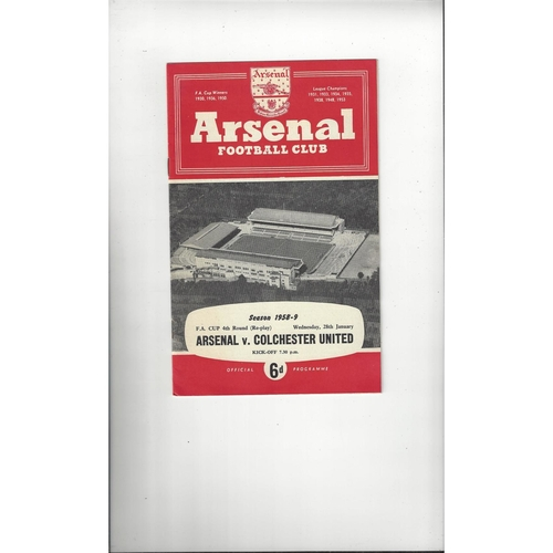 1958/59 Arsenal v Colchester United FA Cup Replay Football Programme