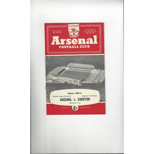 1958/59 Arsenal v Everton Football Programme
