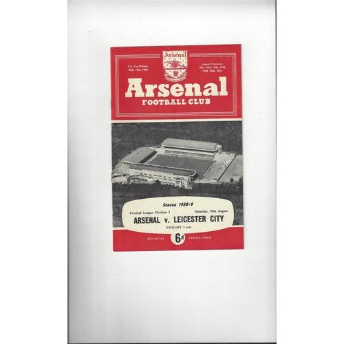1958/59 Arsenal v Leicester City Football Programme
