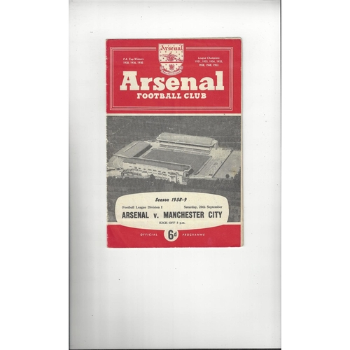 1958/59 Arsenal v Manchester City Football Programme
