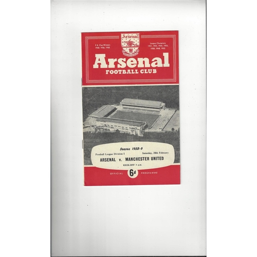 1958/59 Arsenal v Manchester United Football Programme
