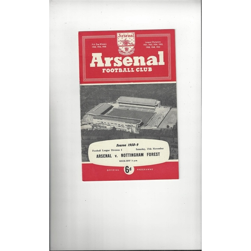 1958/59 Arsenal v Nottingham Forest Football Programme