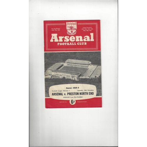 1958/59 Arsenal v Preston Football Programme