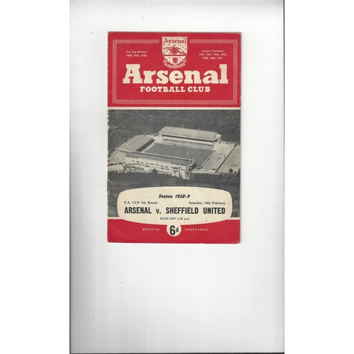 1958/59 Arsenal v Sheffield United FA Cup Football Programme