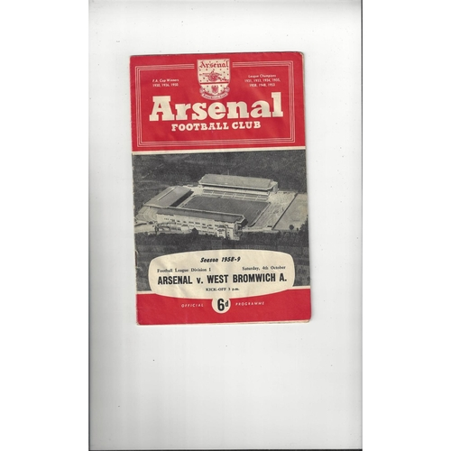 1958/59 Arsenal v West Bromwich Albion Football Programme