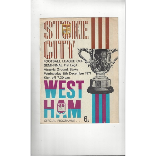 1971/72 Stoke City v West Ham United League Cup Semi Final Football Programme