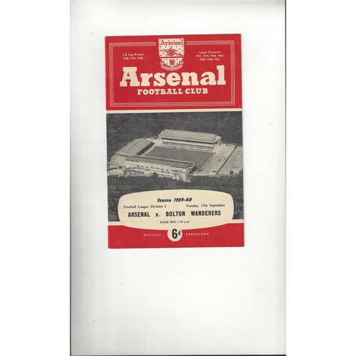 1959/60 Arsenal v Bolton Wanderers Football Programme