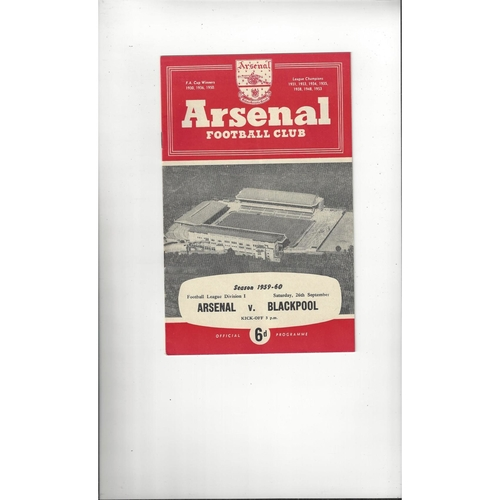 1959/60 Arsenal v Blackpool Football Programme
