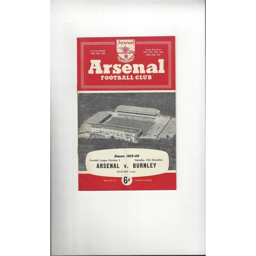 1959/60 Arsenal v Burnley Football Programme