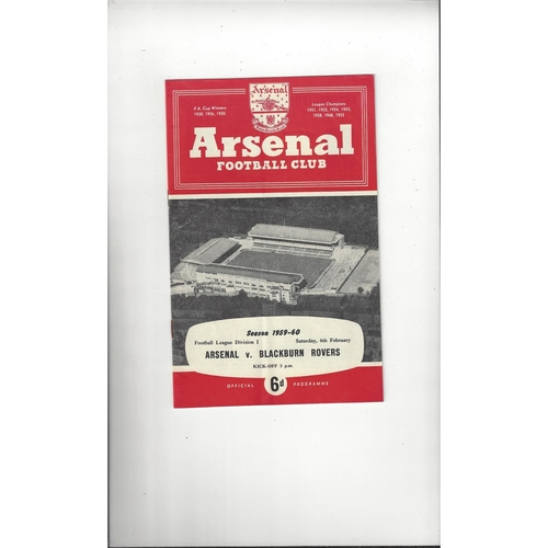 1959/60 Arsenal v Blackburn Rovers Football Programme