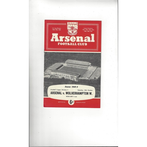 1958/59 Arsenal v Wolves Football Programme