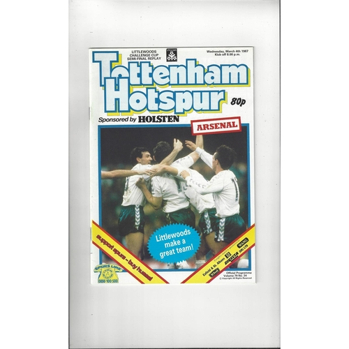 1986/87 Tottenham Hotspur v Arsenal League Cup Semi Final Replay Football Programme