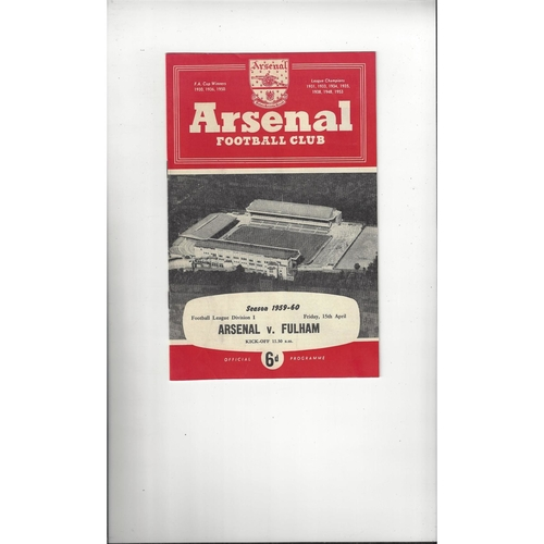 1959/60 Arsenal v Fulham Football Programme