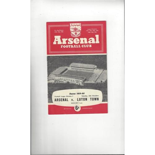 1959/60 Arsenal v Luton Town Football Programme