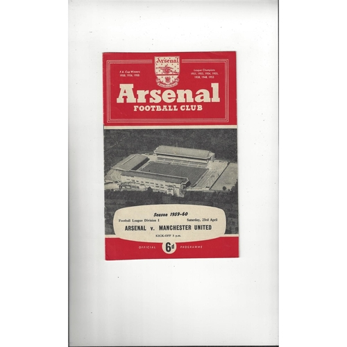 1959/60 Arsenal v Manchester United Football Programme