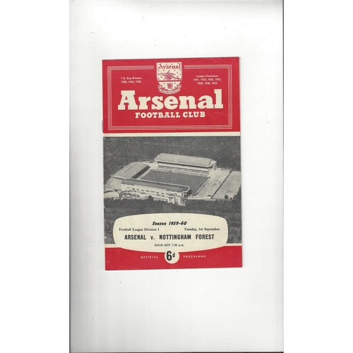 1959/60 Arsenal v Nottingham Forest Football Programme
