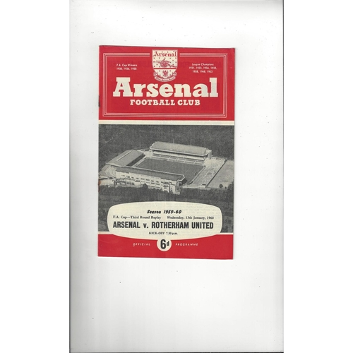 1959/60 Arsenal v Rotherham United FA Cup Replay Football Programme