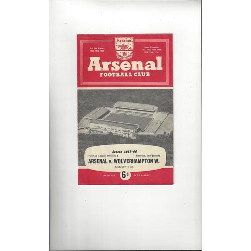 1959/60 Arsenal v Wolves Football Programme