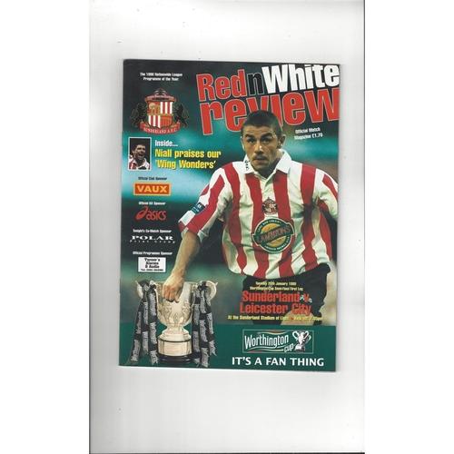 1998/99 Sunderland v Leicester City League Cup Semi Final Football Programme