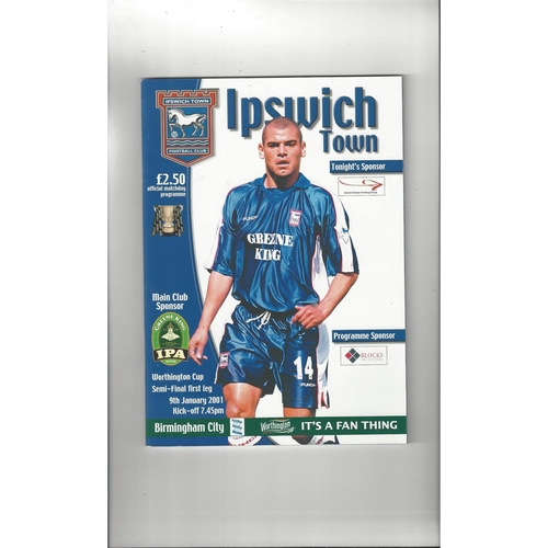 2000/01 Ipswich Town v Birmingham City League Cup Semi Final Football Programme