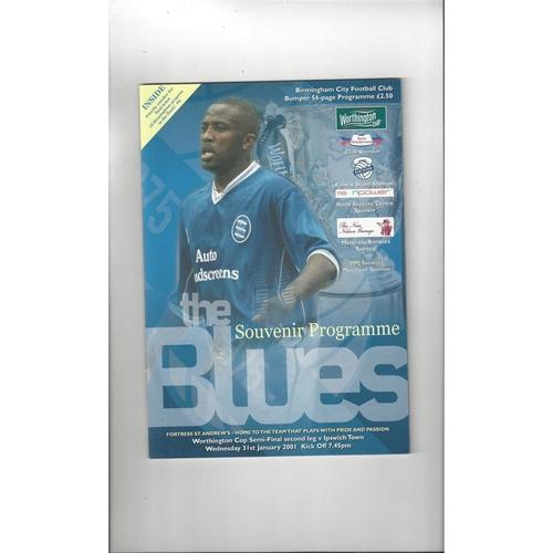 2000/01 Birmingham City v Ipswich Town League Cup Semi Final Football Programme