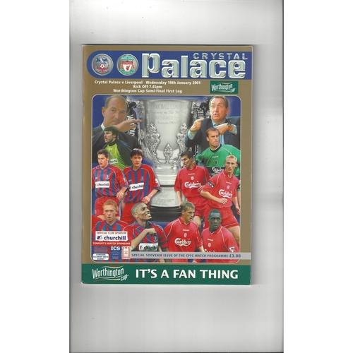 2000/01 Crystal Palace v Liverpool League Cup Semi Final Football Programme
