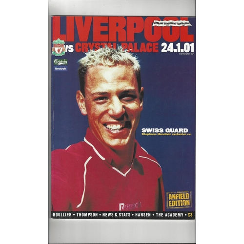 2000/01 Liverpool v Crystal Palace League Cup Semi Final Football Programme