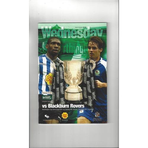 2001/02 Sheffield Wednesday v Blackburn Rovers League Cup Semi Final Football Programme
