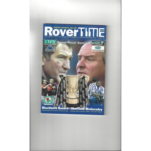 2001/02 Blackburn Rovers v Sheffield Wednesday League Cup Semi Final Football Programme