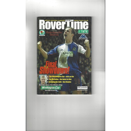 2002/03 Blackburn Rovers v Manchester United League Cup Semi Final Football Programme