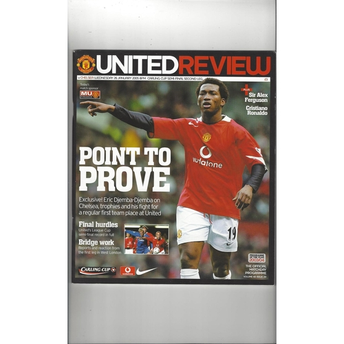 2004/05 Manchester United v Chelsea League Cup Semi Final Football Programme
