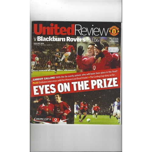 2005/06 Manchester United v Blackburn Rovers League Cup Semi Final Football Programme