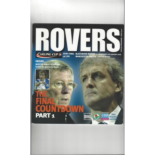 2005/06 Blackburn Rovers v Manchester United League Cup Semi Final Football Programme