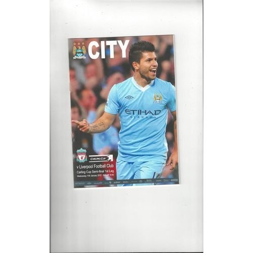 2011/12 Manchester City v Liverpool League Cup Semi Final Sussex Reds Publication Football Programme
