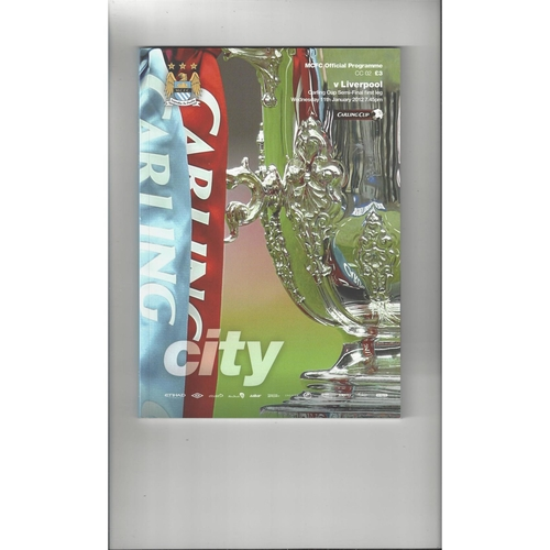 2011/12 Manchester City v Liverpool League Cup Semi Final Football Programme
